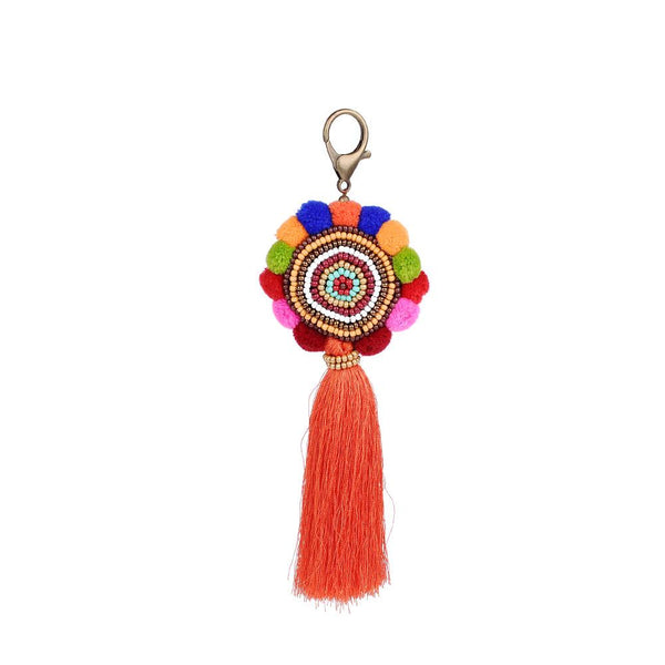 Bohemian Pom Pom Tassel Key-Chain-Gifts-orange-Keyomi-Sook