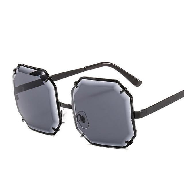 Women's Polygonal Cut Resin Lens Sunglasses-Ladies Sunglasses-D897 black grey-Product Detail: Women Luxury Brand Designer Polygonal Cut Resin Lens Fashion Square Sunglasses Lenses Material:Resin Frame Material: Alloy Style: Square Dimension: Lens Width: 59 mmLens Height: 59 mm-Keyomi-Sook