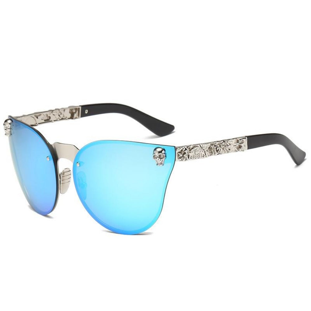 Women's Gothic Style Skull Frame Sunglasses-Ladies Sunglasses-C6-Silver-Blue-Product Details: Women Gothic Sunglasses Skull Frame Metal Temple High Quality Sun glasses Protect Yours Eyes While Reflecting Your Style Lenses Optical Attribute: Mirror Style: Shield Frame Material: Alloy Lenses Material: Polycarbonate Dimensions: Lens Width: 58 mm Lens Height: 45 mm-Keyomi-Sook