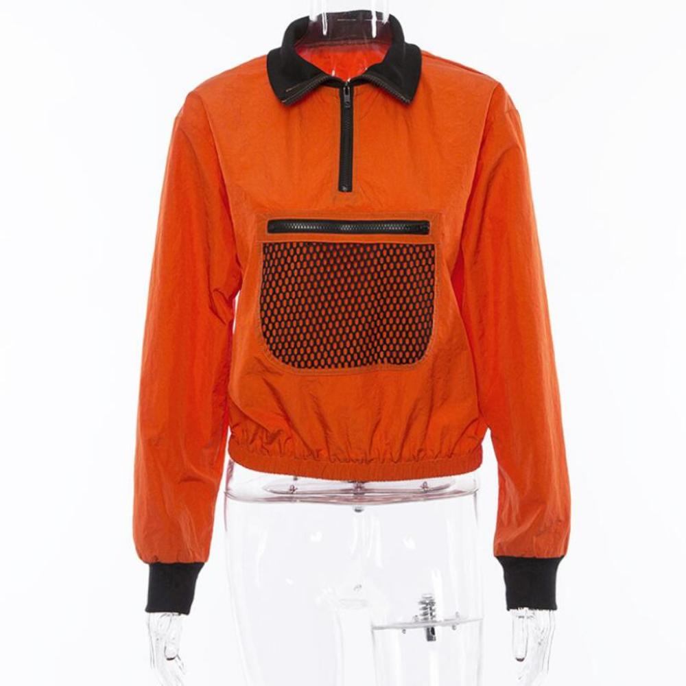 Women'S Half Open Loose Sweatshirt-Orange-S-Product Details: Women's Half Open Collar Long Sleeve Loose Crop Top Sweatshirt Item Type: Hoodies Material: Polyester Style: Casual Fabric Type: Knitted Sleeve Length (cm): Full Clothing Length: Regular Pattern Type: Polka Dot Type: Pullovers Sleeve Style: Regular Collar: Stand Weight: 0.18 kg Size Chart:-Keyomi-Sook
