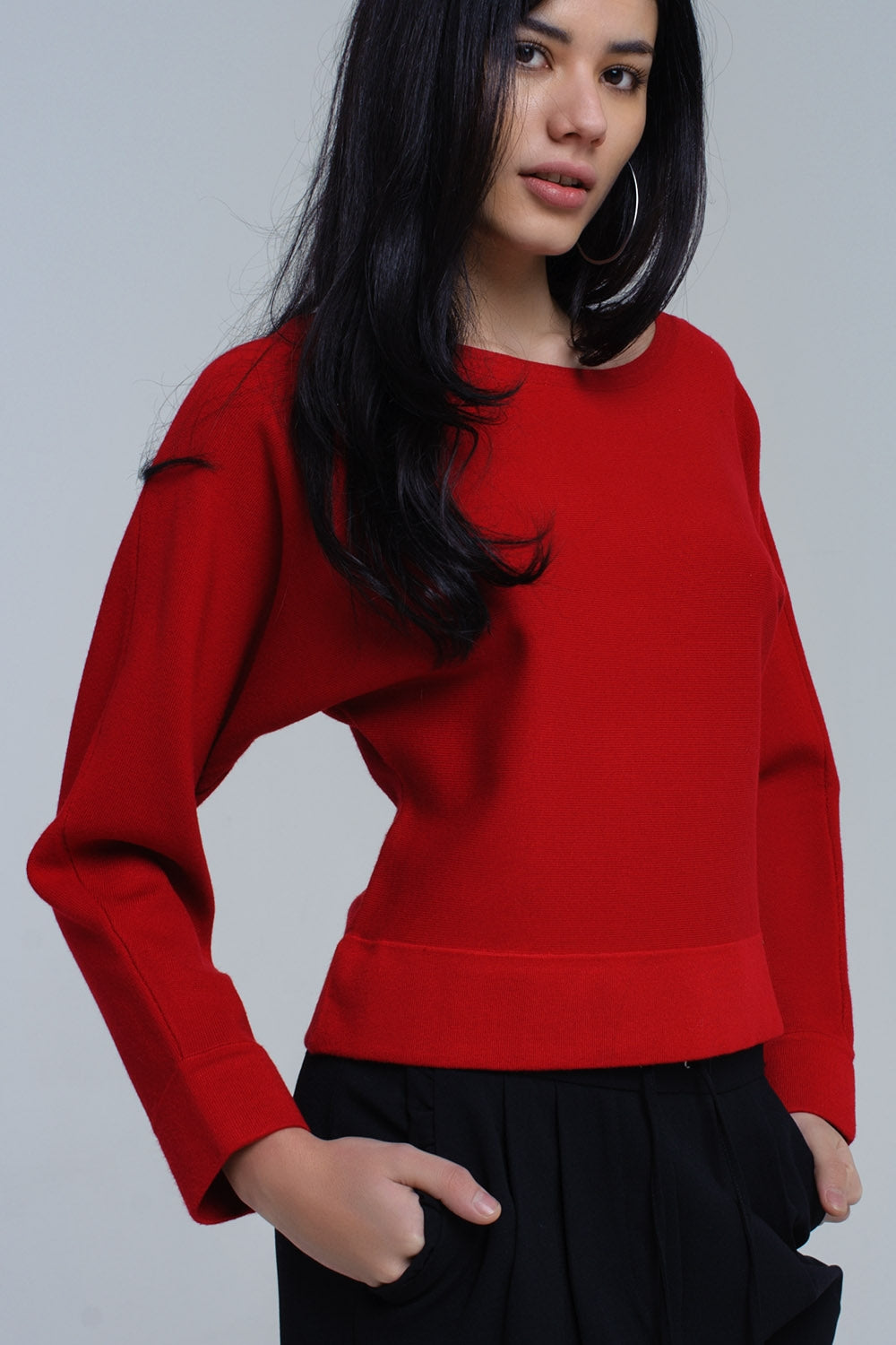 Red Sweater With Boat Neck-Women - Apparel - Sweaters - Pull Over-Product Details Red sweater in soft knit. It has a boat neck with batwing long sleeves.-Keyomi-Sook