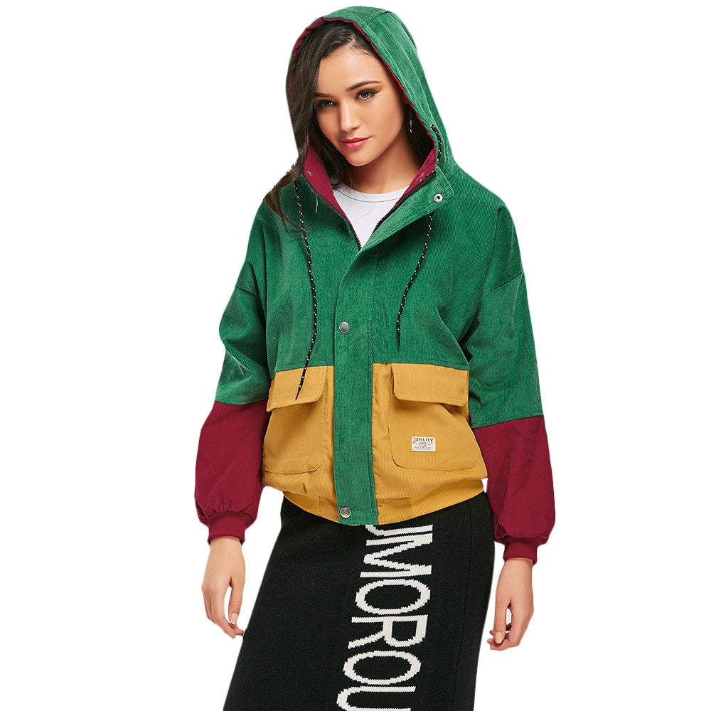 Women'S Color Patchwork Hooded Jacket-Women's Fashion - Women's Clothing - Jackets & Coats - Jackets-GREEN-XL-Product Details: Women's Color Blocking Patchwork Hooded Jacket Clothes Type: Jackets Style: Fashion Material: Cotton, Polyester Type: Slim Length: Regular Sleeve Length: Full Collar: Hooded Pattern Type: Patchwork Weight: 0.862 kg Package Contents: 1 x Jacket Size Chart:-Keyomi-Sook