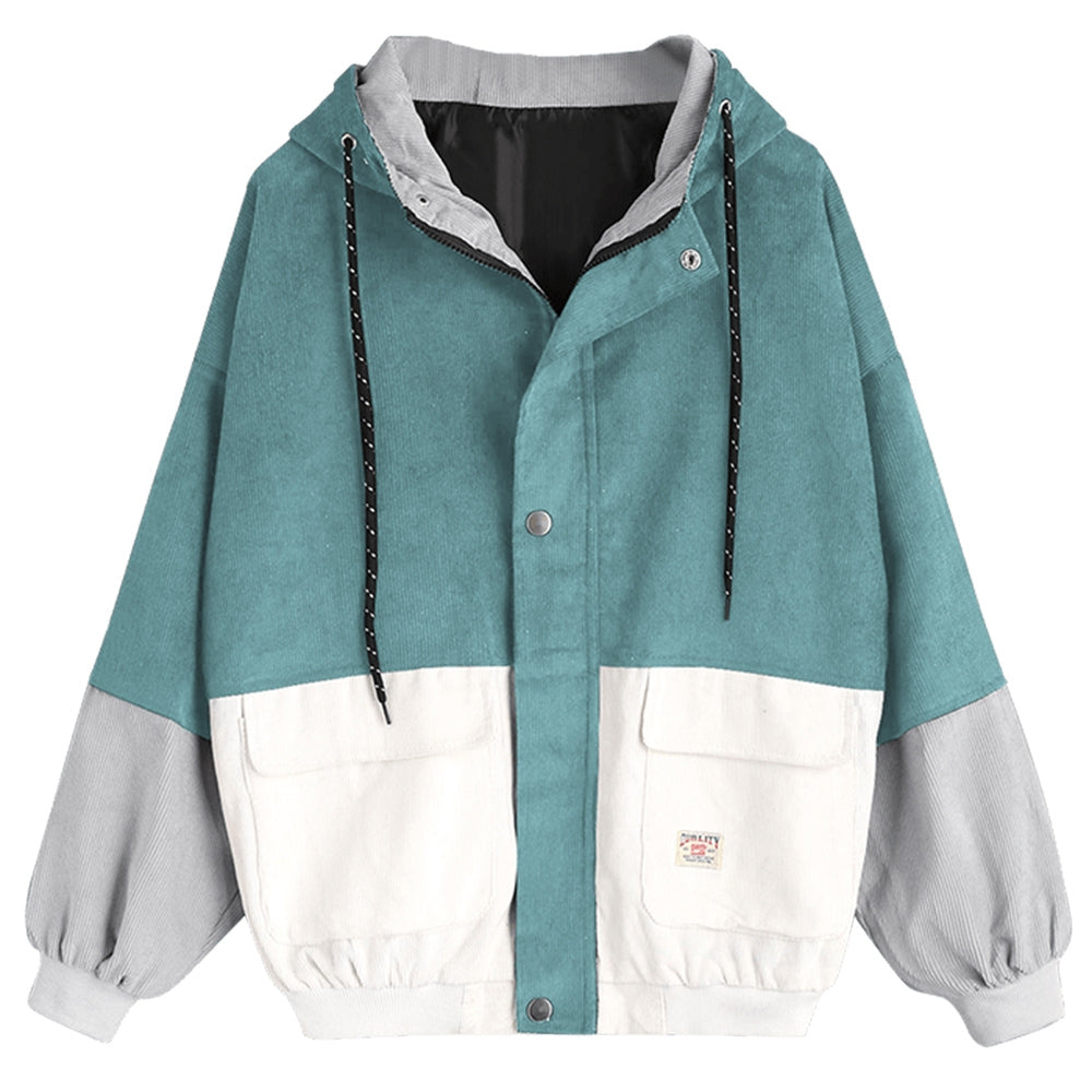 Women'S Color Patchwork Hooded Jacket-Women's Fashion - Women's Clothing - Jackets & Coats - Jackets-BLUE GREEN-XL-Product Details: Women's Color Blocking Patchwork Hooded Jacket Clothes Type: Jackets Style: Fashion Material: Cotton, Polyester Type: Slim Length: Regular Sleeve Length: Full Collar: Hooded Pattern Type: Patchwork Weight: 0.862 kg Package Contents: 1 x Jacket Size Chart:-Keyomi-Sook