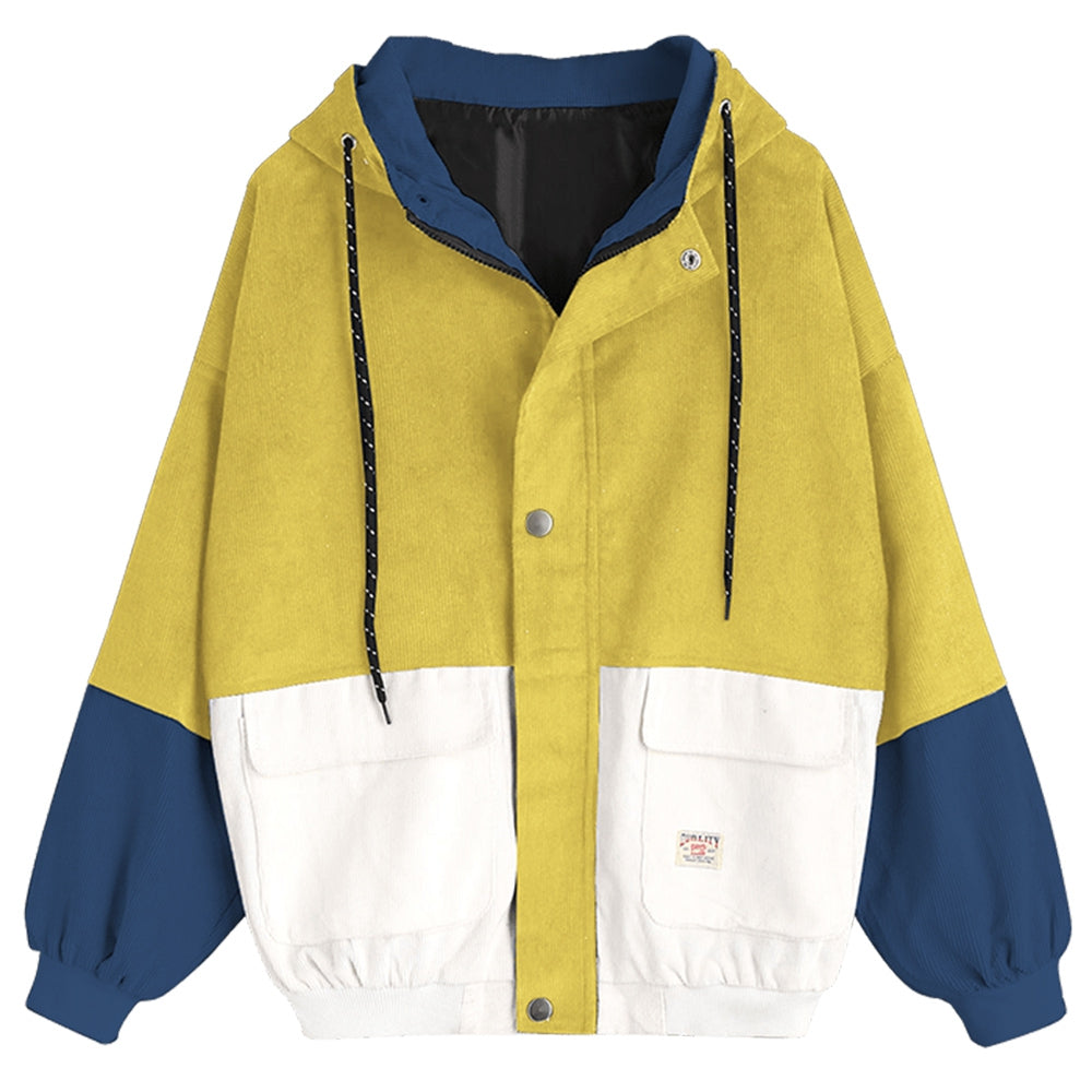 Women'S Color Patchwork Hooded Jacket-Women's Fashion - Women's Clothing - Jackets & Coats - Jackets-YELLOW-XL-Product Details: Women's Color Blocking Patchwork Hooded Jacket Clothes Type: Jackets Style: Fashion Material: Cotton, Polyester Type: Slim Length: Regular Sleeve Length: Full Collar: Hooded Pattern Type: Patchwork Weight: 0.862 kg Package Contents: 1 x Jacket Size Chart:-Keyomi-Sook