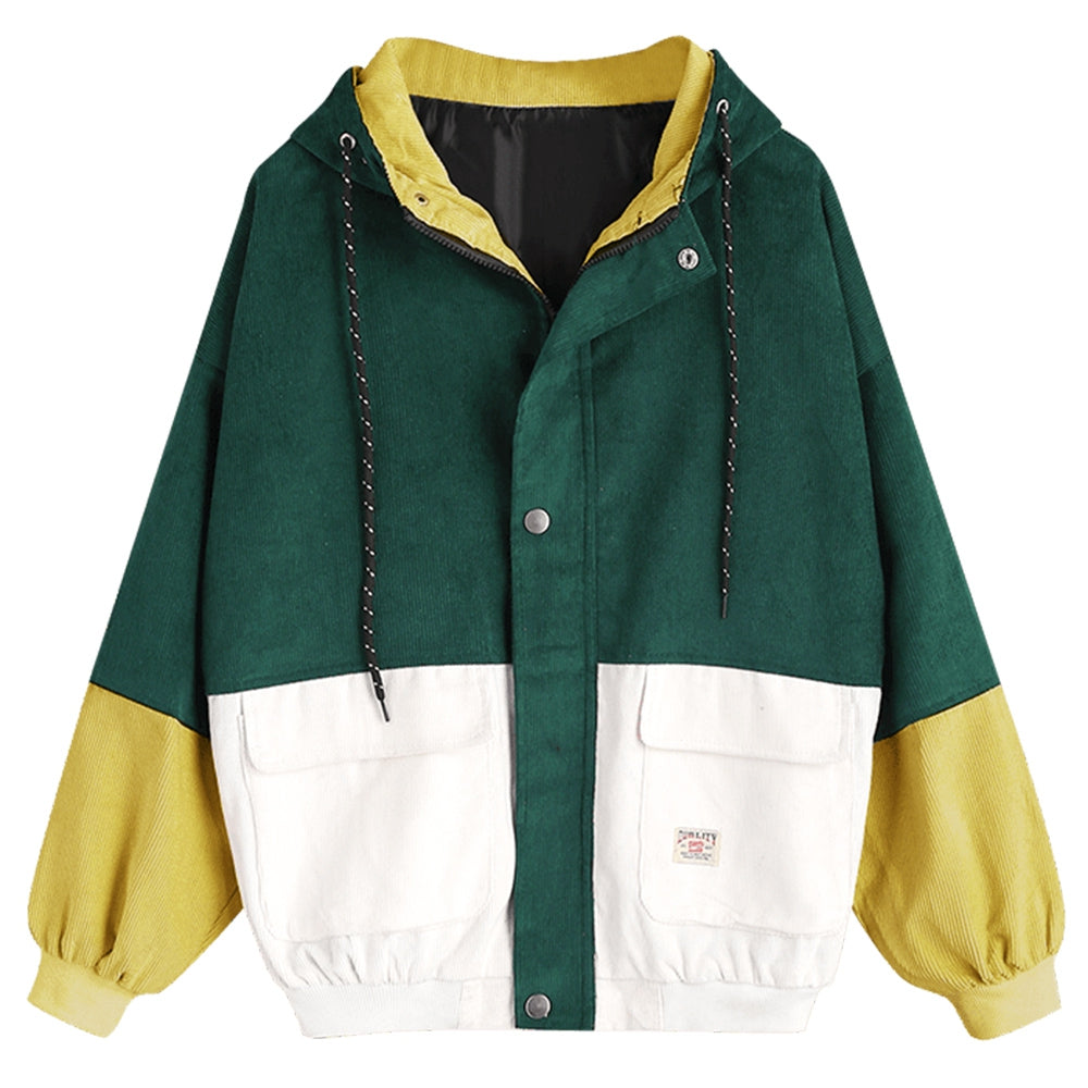 Women'S Color Patchwork Hooded Jacket-Women's Fashion - Women's Clothing - Jackets & Coats - Jackets-DEEP GREEN-XL-Product Details: Women's Color Blocking Patchwork Hooded Jacket Clothes Type: Jackets Style: Fashion Material: Cotton, Polyester Type: Slim Length: Regular Sleeve Length: Full Collar: Hooded Pattern Type: Patchwork Weight: 0.862 kg Package Contents: 1 x Jacket Size Chart:-Keyomi-Sook