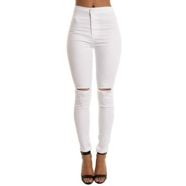 Women'S White Hole Denim High Waist Ripped Jeans-Ladies Jeans-White Jeans-M-Product Details: Women's Autumn White Hole Cool Denim High Waist Ripped Casual Jeans Size Chat:-Keyomi-Sook