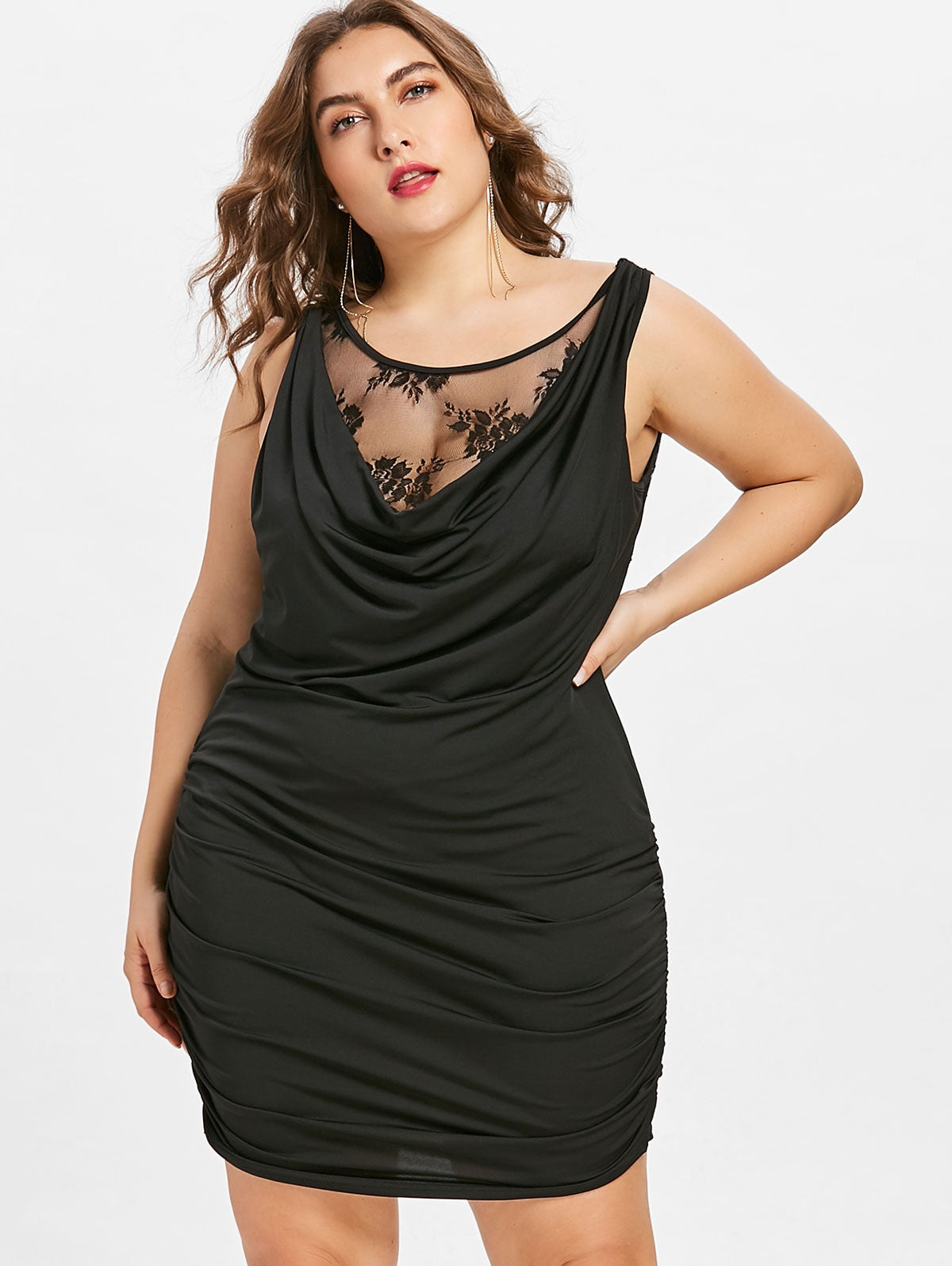 Women'S Lace Panel Draped Dress-Dresses-Product Details: Women's Lace Panel Draped Plus Size Dress Style: Club Material: Polyester Silhouette: Bodycon Dresses Length: Mini Neckline: Scoop Neck Sleeve Length: Sleeveless Embellishment: Lace, Ruched Pattern Type: Solid Color Elasticity: Elastic With Belt: No Season: Spring, Summer Weight: 0.234 kg Package Contents: 1 x Dress Size Chart:-Keyomi-Sook