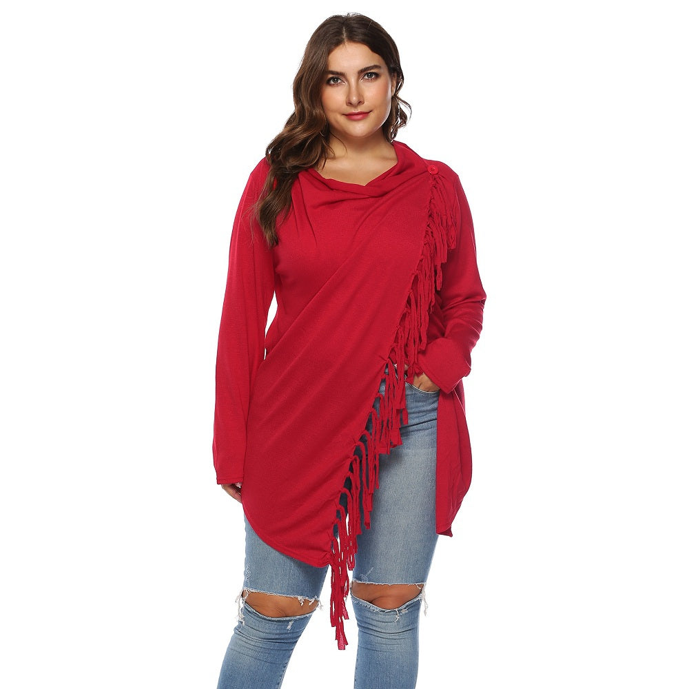 Women'S Irregular Tassel One Button Cardigan-Women - Apparel - Sweaters - Cardigans-RED-XL-Product Details: Women's Irregular Tassel One Button Plus Size Cardigan Type: Cardigans Material: Cotton Sleeve Length: Full Collar: Shawl Collar Style: Fashion Pattern Type: Solid Season: Fall, Spring, Winter Weight: 0.4500kg Package Contents: 1 * tops Size Chart:-Keyomi-Sook