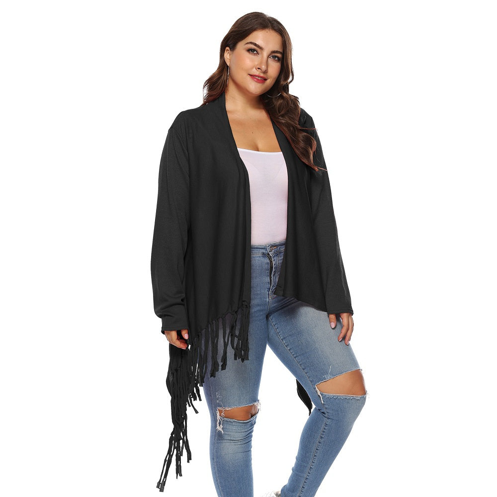 Women'S Irregular Tassel One Button Cardigan-Women - Apparel - Sweaters - Cardigans-BLACK-XL-Product Details: Women's Irregular Tassel One Button Plus Size Cardigan Type: Cardigans Material: Cotton Sleeve Length: Full Collar: Shawl Collar Style: Fashion Pattern Type: Solid Season: Fall, Spring, Winter Weight: 0.4500kg Package Contents: 1 * tops Size Chart:-Keyomi-Sook