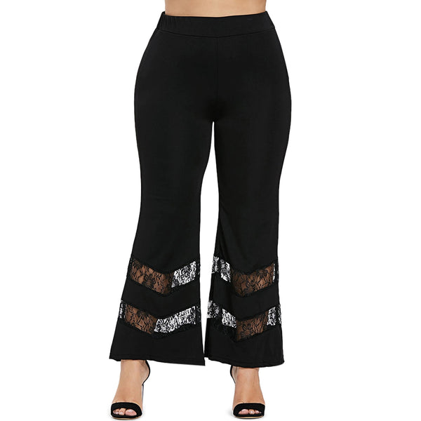 Women'S Lace Panel Flare Pants-Men's Fashion - Men's Clothing - Pants - Casual Pants-BLACK-1X-Product Details: Women's Lace Panel Flare Plus Size Pants Style: Fashion Length: Normal Material: Polyester,Spandex Fit Type: Regular Waist Type: High Closure Type: Elastic Waist Pattern Type: Solid Pant Style: Flare Pants Weight: 0.340 kg Package Contents: 1 x Pants Size Chart:-Keyomi-Sook