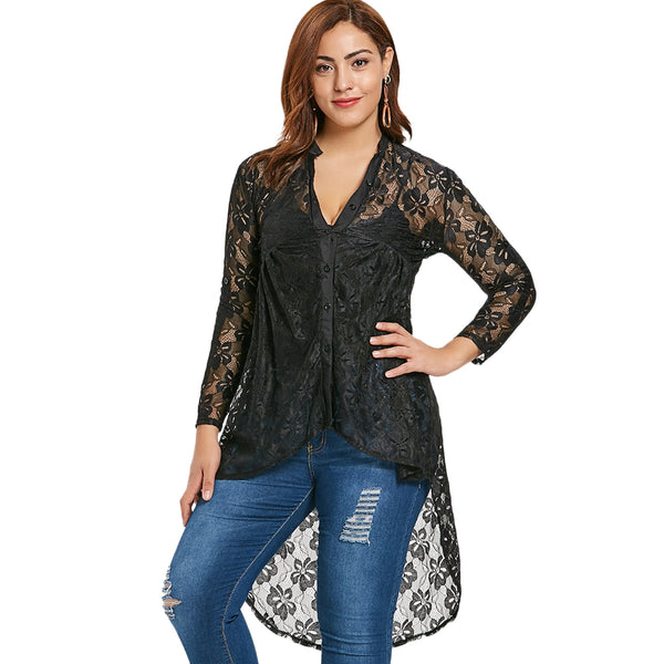 Women'S Button Up High Low Lace Blouse-Women's Blouse-BLACK-1X-Product Details: Women's Button Up High Low Lace Plus Size Blouse Material: Polyester Shirt Length: Long Sleeve Length: Full Collar: Stand-Up Collar Style: Fashion Season: Fall, Spring Pattern Type: Floral Weight: 0.213 kg Package Contents: 1 x Blouse Size Chart:-Keyomi-Sook