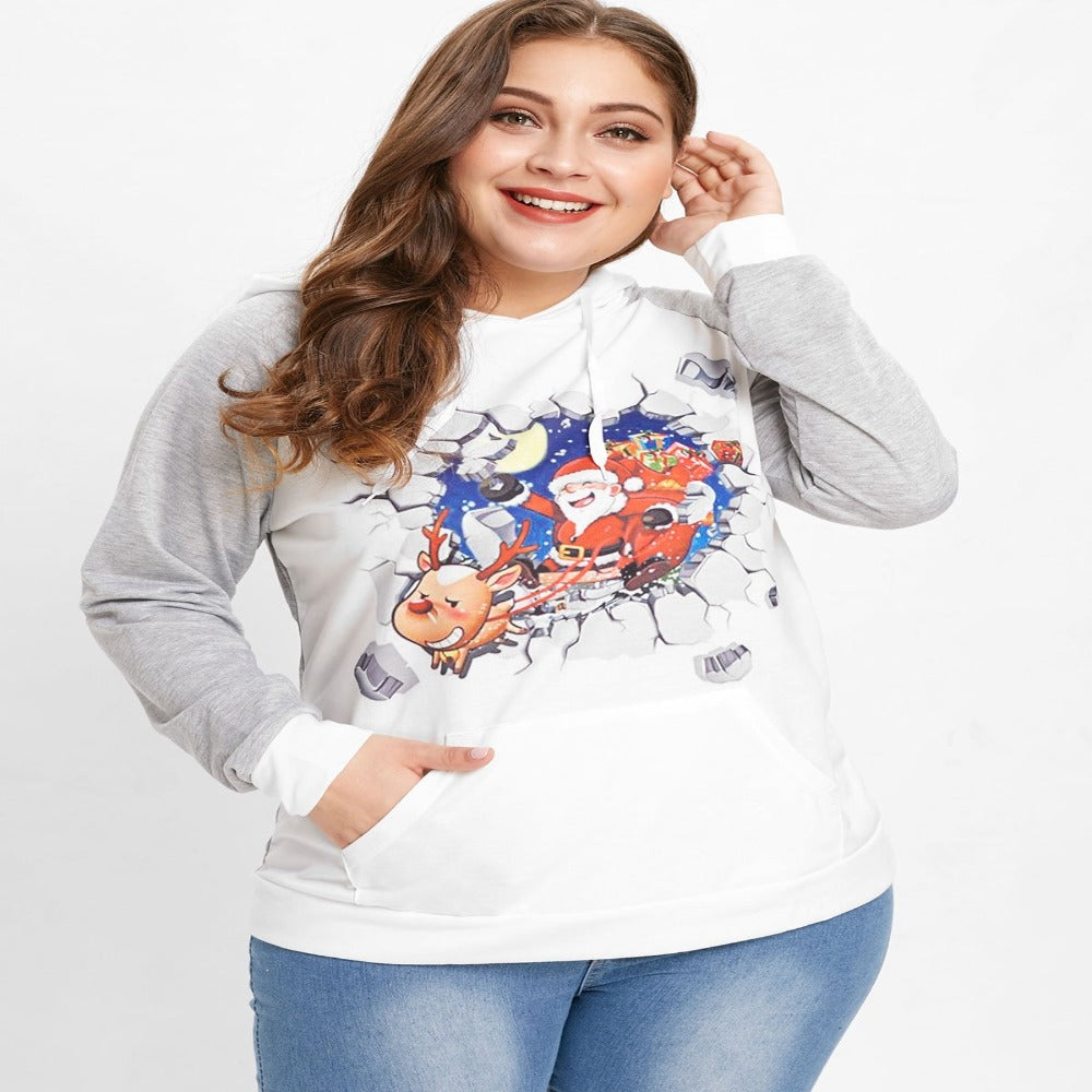 Women'S Raglan Sleeve Christmas Hoodie-Sweatshirts-LIGHT GRAY-1X-Product Details: Women's Raglan Sleeve Plus Size Christmas Hoodie Material: Polyester, Polyurethane Shirt Length: Regular Sleeve Length: Full Style: Novelty Pattern Style: Print Season: Fall, Winter Weight: 0.361 kg Package Contents: 1 x Hoodie Size Chart:-Keyomi-Sook