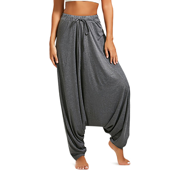 Women'S Elastic Waist Drop-Crotch Pants-Women - Apparel - Pants - Wide Leg-GRAY-S-Product Details: Women's Elastic Waist Loose Drop-crotch Casual Pants Season: Autumn, Spring Package weight: 0.414 kg Package Content: 1 x Pants Package size: 1.00 x 1.00 x 1.00 cm / 0.39 x 0.39 x 0.39 inches Size Chart:-Keyomi-Sook