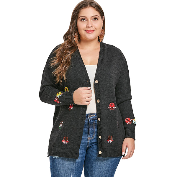 Women'S Embroidery Drop Shoulder Cardigan-Women - Apparel - Sweaters - Cardigans-BLACK-3X-Product Details: Women's Embroidery Drop Shoulder Plus Size Cardigan Type: Cardigans Material: Polyester Sleeve Length: Full Collar: Collarless Style: Fashion Season: Fall, Winter Pattern Type: Patchwork Weight: 0.567 kg Package Contents: 1 x Cardigan Size Chart:-Keyomi-Sook
