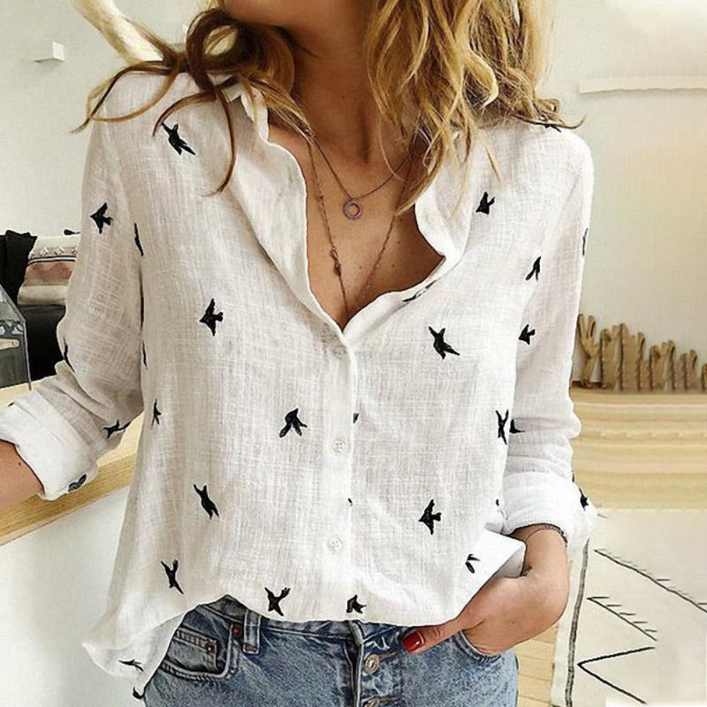 Women's Bird Print Long Sleeve Loose Shirt-Tops, Blouses, & Tees-White-S-Product Details: Women's Birds Print Long Sleeve Loose Plus Size Casual Shirt Material: Polyester-Keyomi-Sook