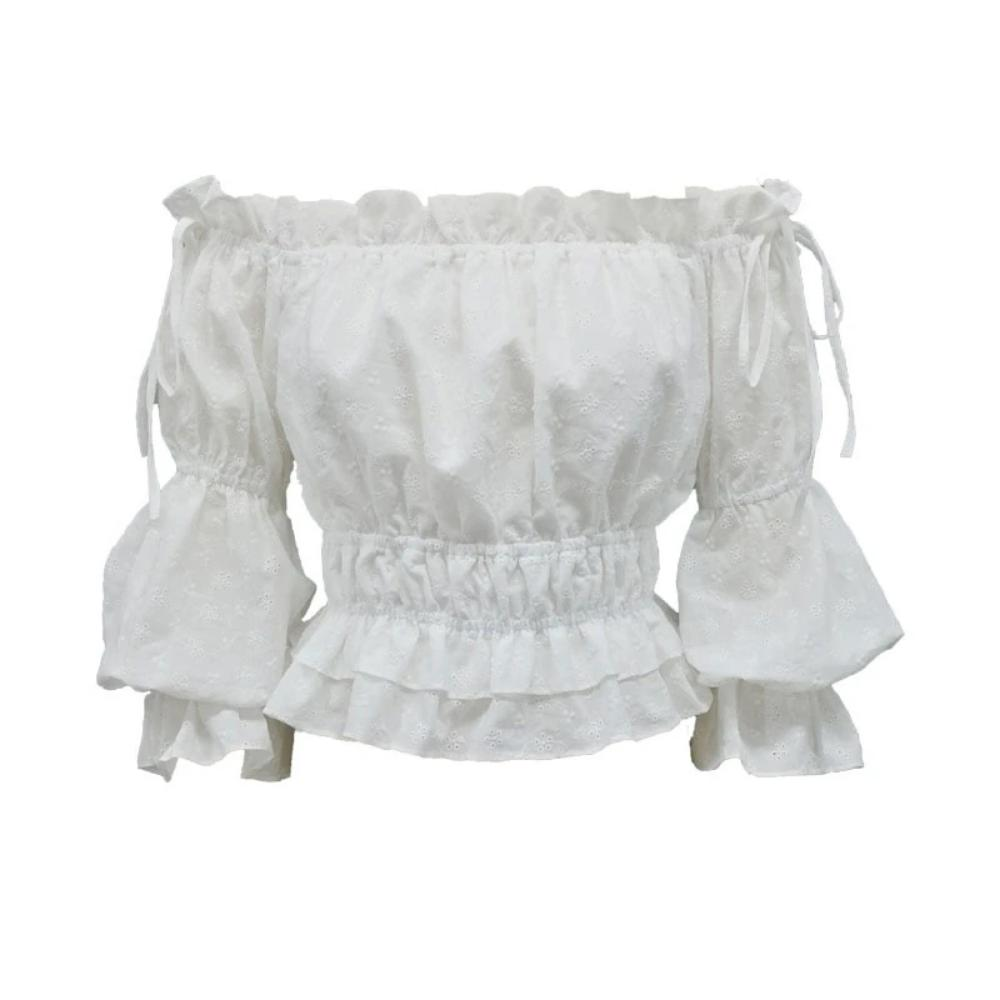 Women's Slash Neck Lantern Sleeve Ruffle Boho Crop Top-Crop/Halter Tops & Bralettes-WHITE-S-Product Details: Women's Slash Neck Lantern Sleeve Ruffle Off Shoulder Crop Top Boho Blouse Material: Cotton Clothing Length: Short Style: Casual Fabric Type: Broadcloth Sleeve Length (cm): Nine Quarter Decoration: Ruffles Pattern Type: Solid Collar: Slash Neck Sleeve Style: Lantern Sleeve Size Chart:-Keyomi-Sook