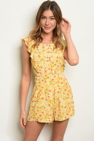 Yellow Floral Romper-Women - Apparel - Jumpsuits/Rompers-Small-Keyomi-Sook