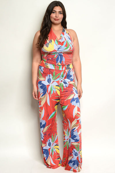 "Multi Color Plus Size Jumpsuit-Women - Apparel - Plus-Product Details Plus size sleeveless floral print jumpsuit. Country: USAFabric Content: 96% POLYESTER 4% SPANDEXSize Scale: 1XL-2XL-3XLDescription: L: 63"" B: 36"" W: 30"" I.S.: 32""-Keyomi-Sook"