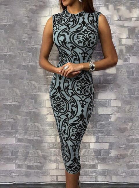 Sleeveless Filigree Print Bodycon Dress-BodyCon Dresses-Blue-S-Keyomi-Sook