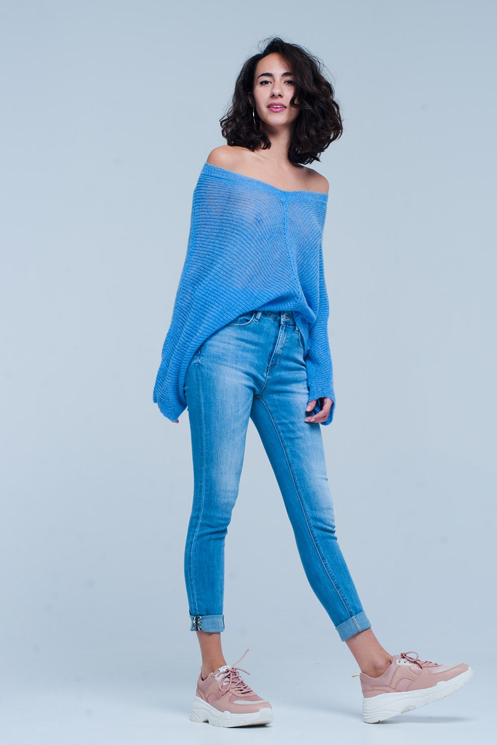Blue V Neck Knitted Sweater-Women - Apparel - Sweaters - Pull Over-Product Details Fresh blue colored V-neck sweater of very airy acrilyc and soft wool and mohair suited for spring days.-Keyomi-Sook