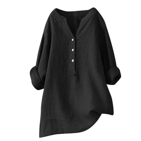 Women's Linen Cotton Long Sleeve Loose Shirt-Black-S-Product Details: Women's Linen Cotton Long Sleeve Buttons Loose Casual Shirt Season: Summer Occasion: Daily, Casual Material: Cotton Linen Pattern Type: Solid Style: Casual Sleeve Length: Long Sleeve Collar: V-neck Thickness: Standard Size Chart:-Keyomi-Sook
