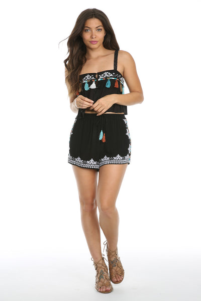 Night Dust Shorts-Women - Apparel - Shorts - Casual-Product Details 100% VISCOSE MID WAIST SHORTS WITH EMBROIDERED TRIM TIE WAIST WITH TASSEL ACCENT MODEL IS WEARING A SIZE SMALL HAND WASH COLD, LAY FLAT TO DRY Easy Measure Conversion XS/0 S/1 M/2 L/3 US 0/2 2/4 6/8 8/10 AUS 4/6 6/8 10/12 12/14 BRAZIL 34/36 36/38 40/42 42/44 CHINA 76a/80a 80a/84a 88a/92a 92a/95a EUP 32/34 34/36 38/40 40/42 JAP 5/7 7/9 11/13 13/15 RUS 42 42/44 46/48 50/52 UK 4/6 6/8 10/12 12/14 Detailed View Size Chart-Keyomi-Soo