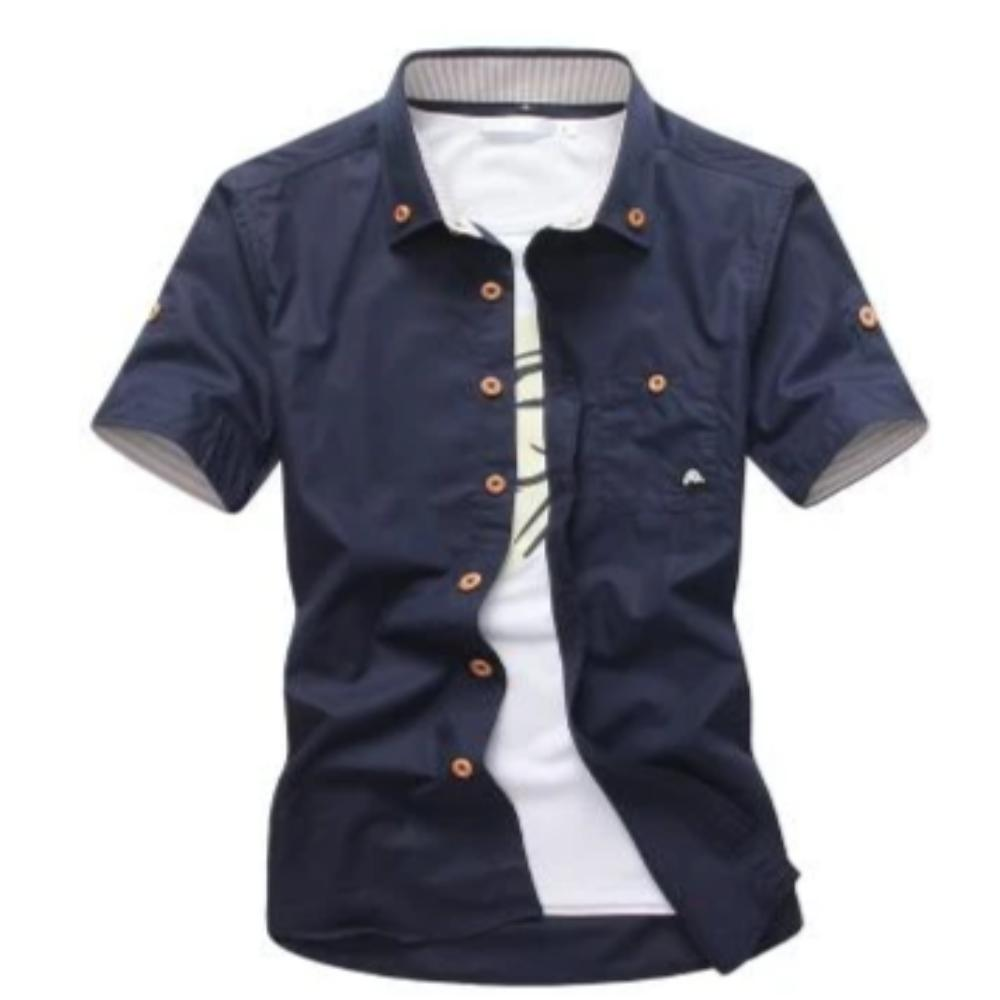 Men's Mushroom Stitching Casual Shirt-Men's Shirt-navy-size M 165cm 55kg-Product Details: Men's Mushroom Embroidery Short Sleeve Casual Cotton Shirt Item Type: Shirts Shirts Type: Casual Shirts Material: Polyester, Cotton Sleeve Length (cm): Short Collar: Turn-down Style: Casual Fabric Type: Broadcloth Fabric: Cotton, Polyester Size Chart:-Keyomi-Sook