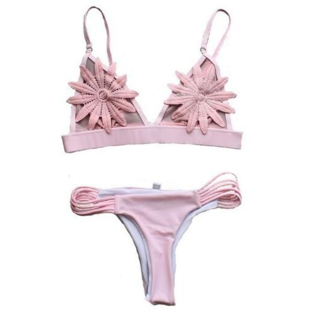 Women'S Mesh Embroided Flower Strappy Swimsuit-Ladies Swimwear-Pink-S-Product Details: Women's White Mesh Embroided Flower Strappy Thong Swimsuit Item Type: Bikinis Set Material: Nylon Waist: Low Waist Support Type: Wire Free Pattern Type: Solid Size Chart:-Keyomi-Sook