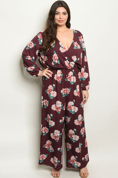 "Burgundy Floral Plus Size Jumpsuit-Women - Apparel - Dresses - Day to Night-Product Details Plus size long sleeve scoop neck floral jumpsuit. Country: USAFabric Content: 95% POLYESTER 5% SPANDEXSize Scale: 1XL-2XL-3XLDescription: L: 61.5"" B: 42"" W: 29""-Keyomi-Sook"
