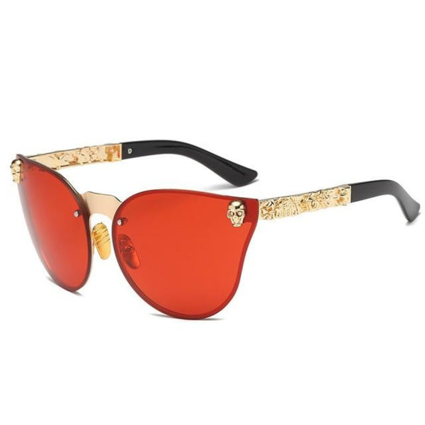 Women's Skull Frame Sunglasses-Ladies Sunglasses-C5-Gold-Red-Product Details: Women's Skull Frame Metal Temple Gothic Sunglasses Lenses Optical Attribute: Mirror Style: Shield Frame Material: Alloy Lenses Material: Polycarbonate Dimensions: Lens Width: 58 mm Lens Height: 45 mm-Keyomi-Sook