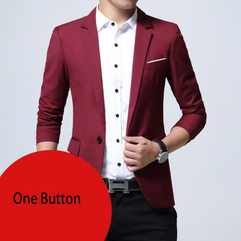 Breasted Two Button Blazer Jacket-Men's Jackets, Coats & Sweaters-wine red one button-M-Product Details: Mens Slim Fit Elegant Blazer Jacket Brand Single Breasted Two Button Party Formal Business Dress Suit Size Chart:-Keyomi-Sook