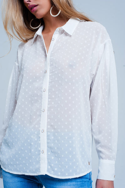 White Relaxed Sheer Shirt In Subtle Spot-Women - Apparel - Shirts - Blouses-L-Keyomi-Sook