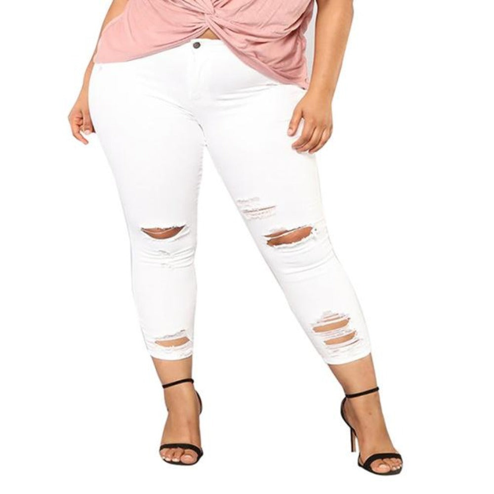 Women'S Hole High Waist Pencil Pants-Ladies Jeans-White-XXXXL-Product Details: Women's Hole High Waist Stretch Slim Pencil Pants Item Type: Jeans Material: Polyester Length: Full Length Wash: Light Closure Type: Zipper Fly Waist Type: Mid Decoration: Washed, Pockets, Hole Fabric Type: Softener Fit Type: Regular Jeans Style: Pencil Pants Style: Casual Size Chart:-Keyomi-Sook