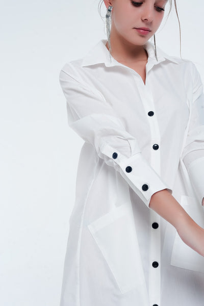 Utility Midi Shirt Dress With Pockets In White-Women - Apparel - Dresses - Day to Night-M-Keyomi-Sook