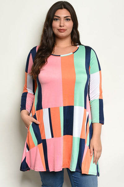 "Multi Color Plus Size Top-Women - Apparel - Plus-Product Details Plus size 3/4 sleeve round neckline printed tunic top. Country: USAFabric Content: 92% POLYESTER 8% SPANDEXSize Scale: 1XL-2XL-3XLDescription: L: 33"" B: 44"" W: 50""-Keyomi-Sook"