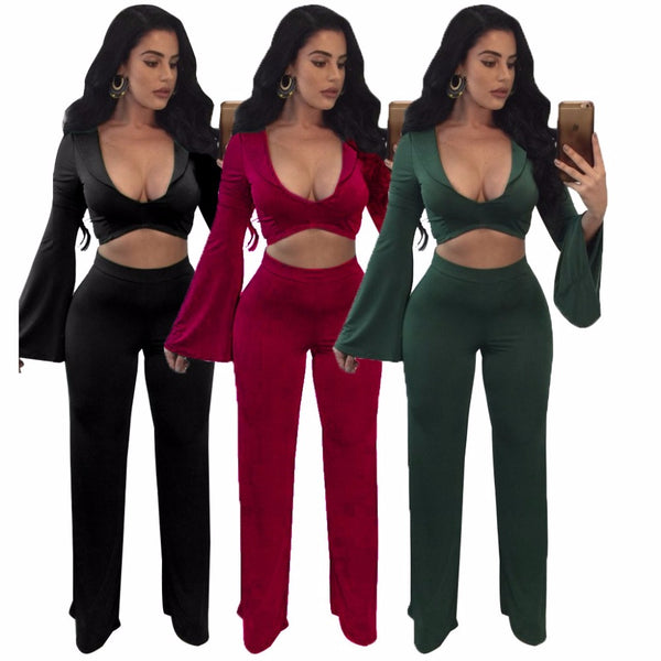 Women's Tight Crop Top & Long Pants Set-Crop/Halter Tops & Bralettes-Product Details: Women's Plus Size Long Sleeve Tight Crop Top & Long Pants Set Material: Polyester Size Chart:-Keyomi-Sook