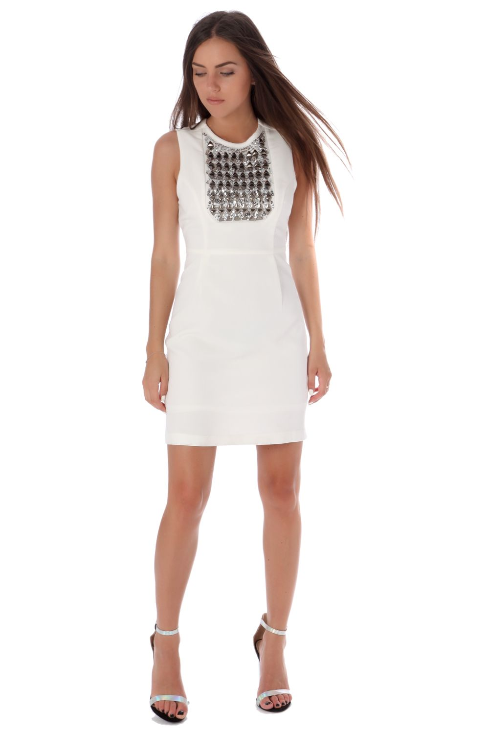 White Mini Dress With Studded Bib-Women - Apparel - Dresses - Day to Night-L-Keyomi-Sook