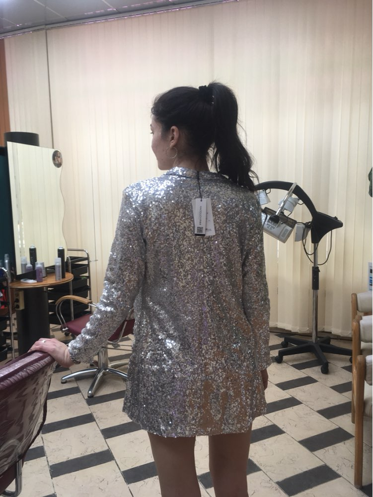 Silver Full Sequined Cardigan-Letz Go Out-Product Details: Silver Sequined Coats Turn-down Collar Long Sleeve Outwears Cardigan Jackets Material: Polyester Decoration: Sequins, Pockets Size Chart:-Keyomi-Sook