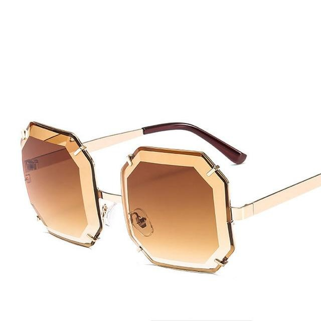 Women's Polygonal Cut Resin Lens Sunglasses-Ladies Sunglasses-D897 gold tea-Product Detail: Women Luxury Brand Designer Polygonal Cut Resin Lens Fashion Square Sunglasses Lenses Material:Resin Frame Material: Alloy Style: Square Dimension: Lens Width: 59 mmLens Height: 59 mm-Keyomi-Sook