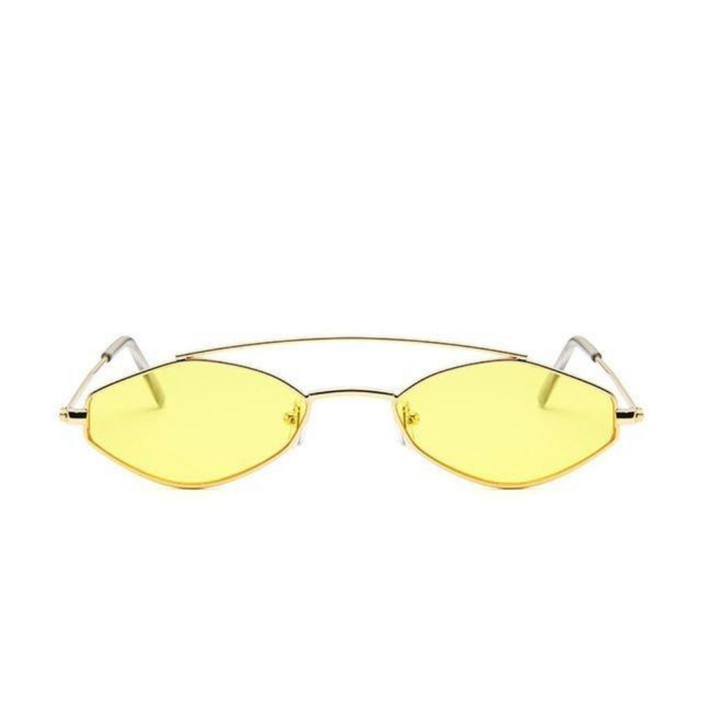 Women's Nose Resting Cat Eye Sunglasses-Ladies Sunglasses-D879 gold yellow-Product Details: Women's Nose Resting Cat Eye Retro Small Double Beam Sunglasses Lenses Optical Attribute: Gradient, UV400 Lenses Material: Resin Style: Cat Eye Frame Material: Alloy Dimensions:-Keyomi-Sook
