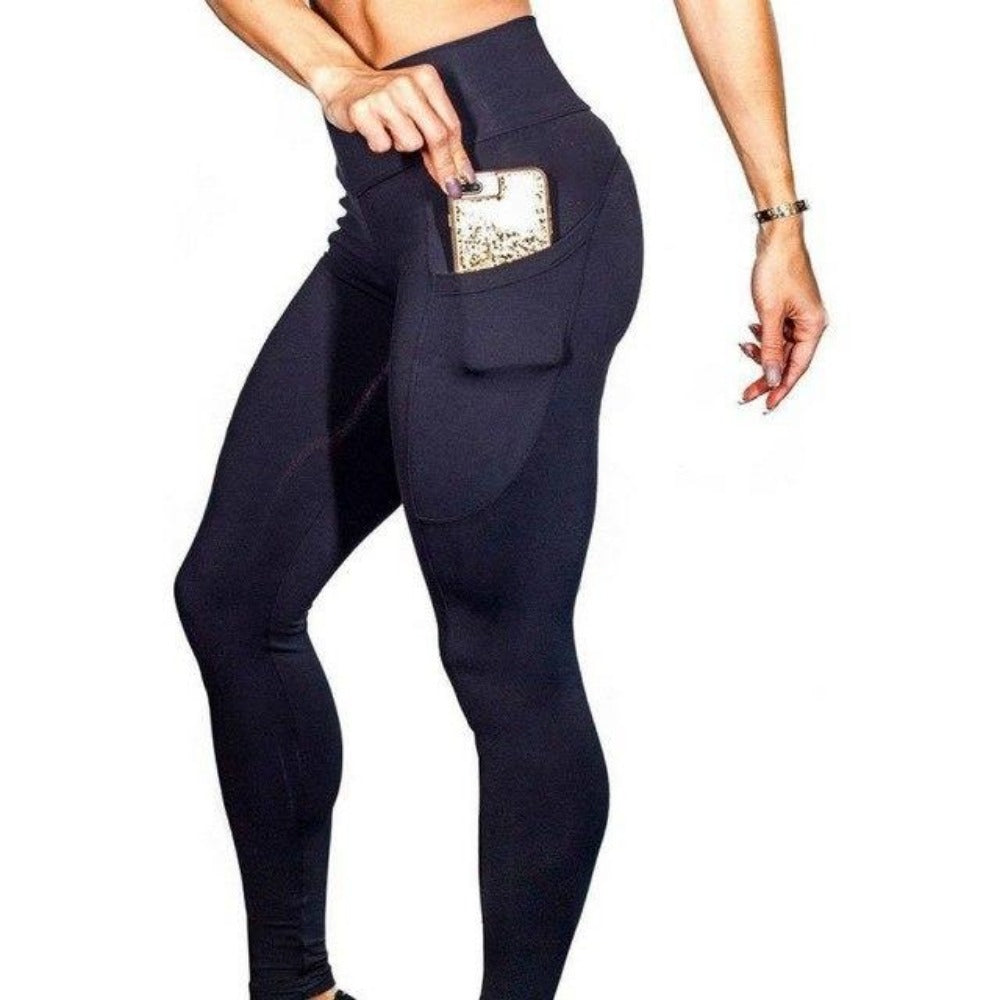 Women'S High Waist Phone Pocket Leggings-Women - Apparel - Activewear - Leggings-Black-S-Product Details: Women's Elastic High Waist Phone Pocket Push Up Fitness Leggings Size Chart:-Keyomi-Sook