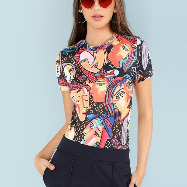 Oil Paint Print Cartoony Top-Tops, Blouses, & Tees-Product Details: Figure Print Ringer Tee Women Tee Shirt Clothing Summer Womens Short Sleeve Tops Collar: O-Neck Color: Multicolor Material: 95% Polyester, 5% Spandex Size Chart: Shoulder (cm) Bust (cm) Cuff (cm) Length (cm) Sleeve Length (cm) XS 35 71 25 56.5 16 S 36 75 26 57.5 17 M 37 79 27 58.5 18 L 38 83 28 59.5 19 XL - - - - - XXL - - - - -Keyomi-Sook