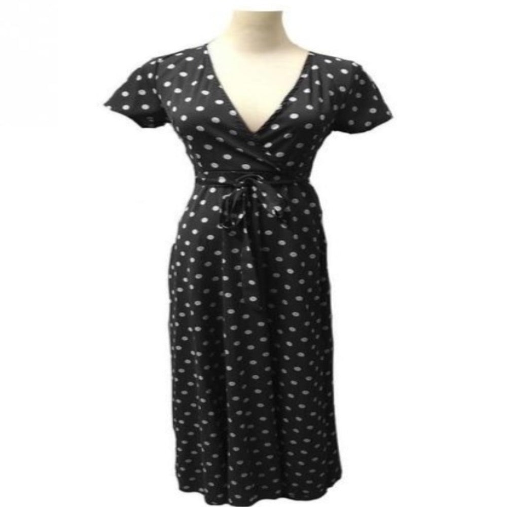 Women's Dot Evening Maxi Dress-Dresses-black-M-Product Details: Women's Red & White Dot Evening Maxi Dress Item name: Dress Style: Fashion Material: Polyester Pattern: Polka Dot Color: Black, White, Red, Navy Sleeve: Short Sleeve Collar: V-neck Size Chart:-Keyomi-Sook
