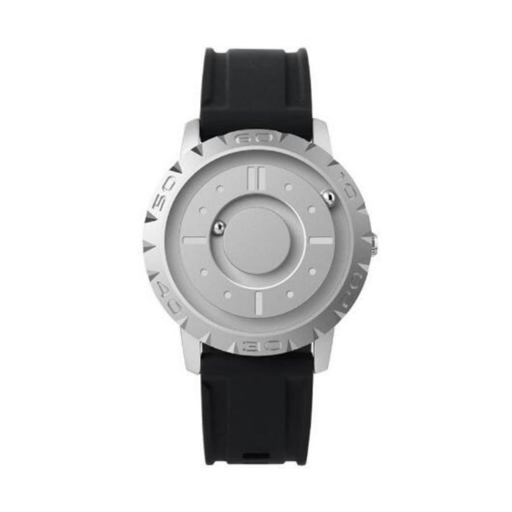 Innovative Glass-Less Men'S Magnetic Quartz Wrist Watches-Men's Watches-Silver-Eye Catching, Sleek, Modern Watch The Everyone Can Use. Versatile Use It Also Designed For Touch. When You Are Unable To See Like During A Movie, In The Club, While In A Meeting, Anywhere There Low Lighting, Even Due To Vision Impairment. Product Details: This All Metal Magnetic Power Watch Is A Subversion Of The Traditional Watch Design. With The Use Of 2 Steel Balls That Time. The Balls Are Driven By Magnetic Force,