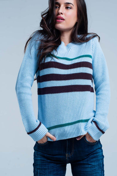 Blue Rib Stitch Sweater With Stripes-Women - Apparel - Sweaters - Pull Over-L-Keyomi-Sook