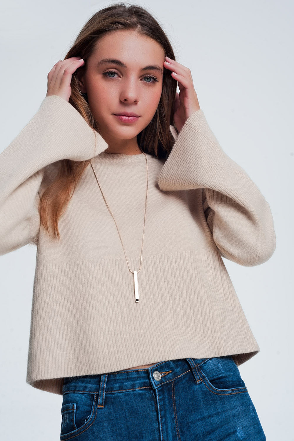 Beige Sweater With Long Sleeves-Women - Apparel - Sweaters - Pull Over-Product Details Beige sweater made of soft fabric with long sleeves and striped detail at the bottom of the sweater-Keyomi-Sook