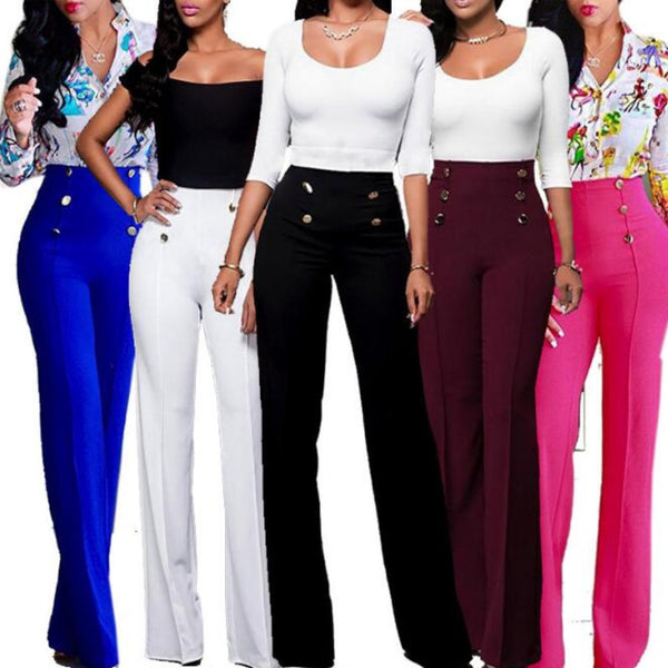 Women'S Loose High Waist Plus Size Flare Wide Leg Pants-Ladies Jeans-Product Details: Women's Button Loose Stretch High Waist Plus Size Flare Casual Wide Leg Pants Size Chart:-Keyomi-Sook