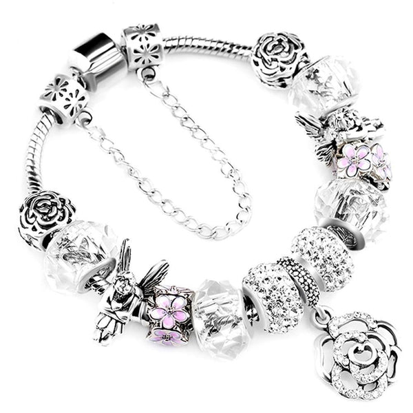 Silver Charm Women'S Crystal Flower Beads Bangle-18cm-AA0105-Keyomi-Sook