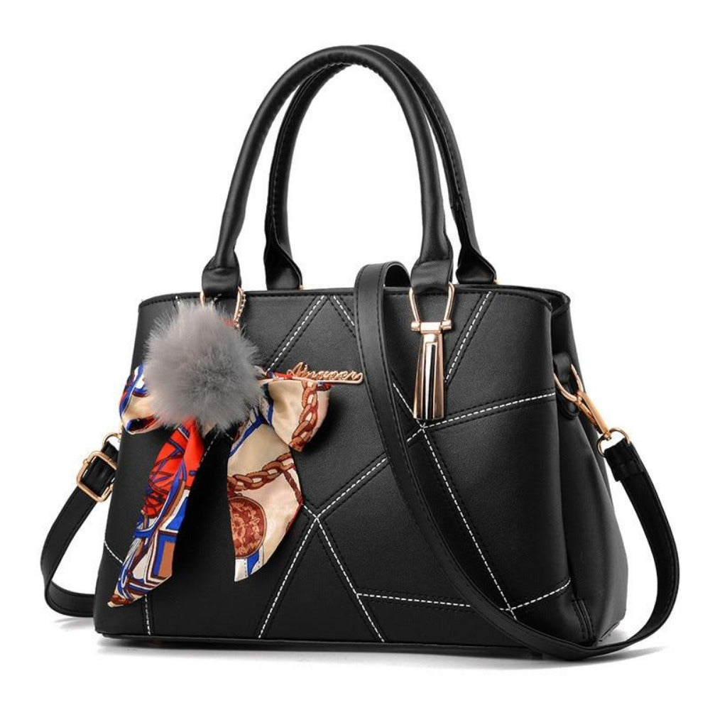 Women' Ribbon Bow Pom-Pom Leather Scarf Bag-Black-Max Length 31cm-Product Details: Women's Stylish Cross-body Leather Bag With Geometric Stitching. Lots Of Color Choices With Latest Designer Looks. Filigree Design Prints Scarfs Puffy Pom-Pom Accent. Item Type: Handbags Shape: Satchels Main Material: PU Handbags Type: Shoulder Bags Types of bags: Shoulder & Cross-body Bags Lining Material: Polyester Number of Handles/Straps: Single Decoration: Ribbons Style: Vintage Pattern Type: Geometric Closur