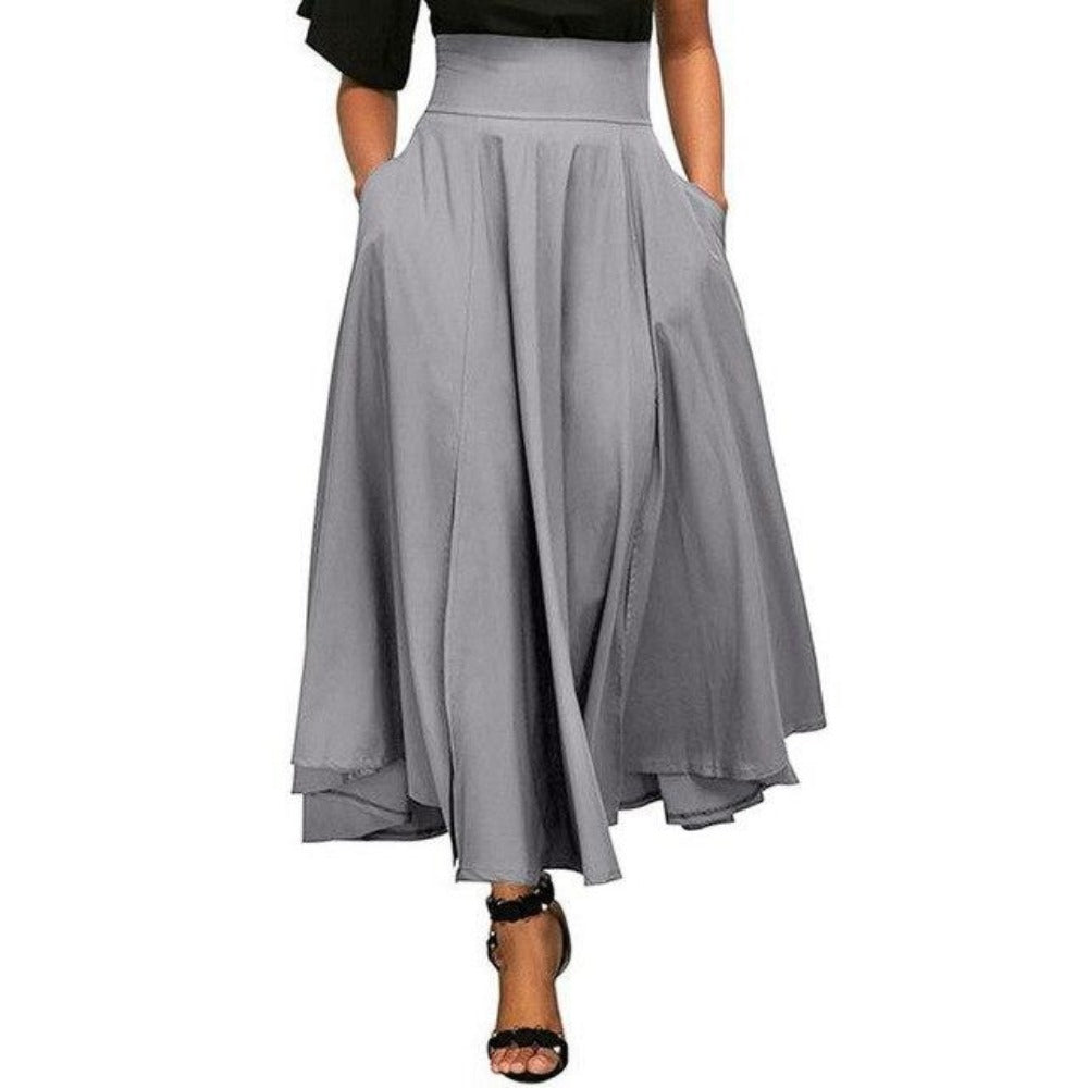 Women'S Retro High Waist Pleated Belted Maxi Skirt-Skirts-Silver-S-Product Details: Women's Retro High Waist Pleated Belted Plus Size Maxi Skirt Material: Polyester Style: Casual Pattern Type: Solid Silhouette: Pleated Dresses Length: Ankle-Length Waistline: Empire Size Chart:-Keyomi-Sook